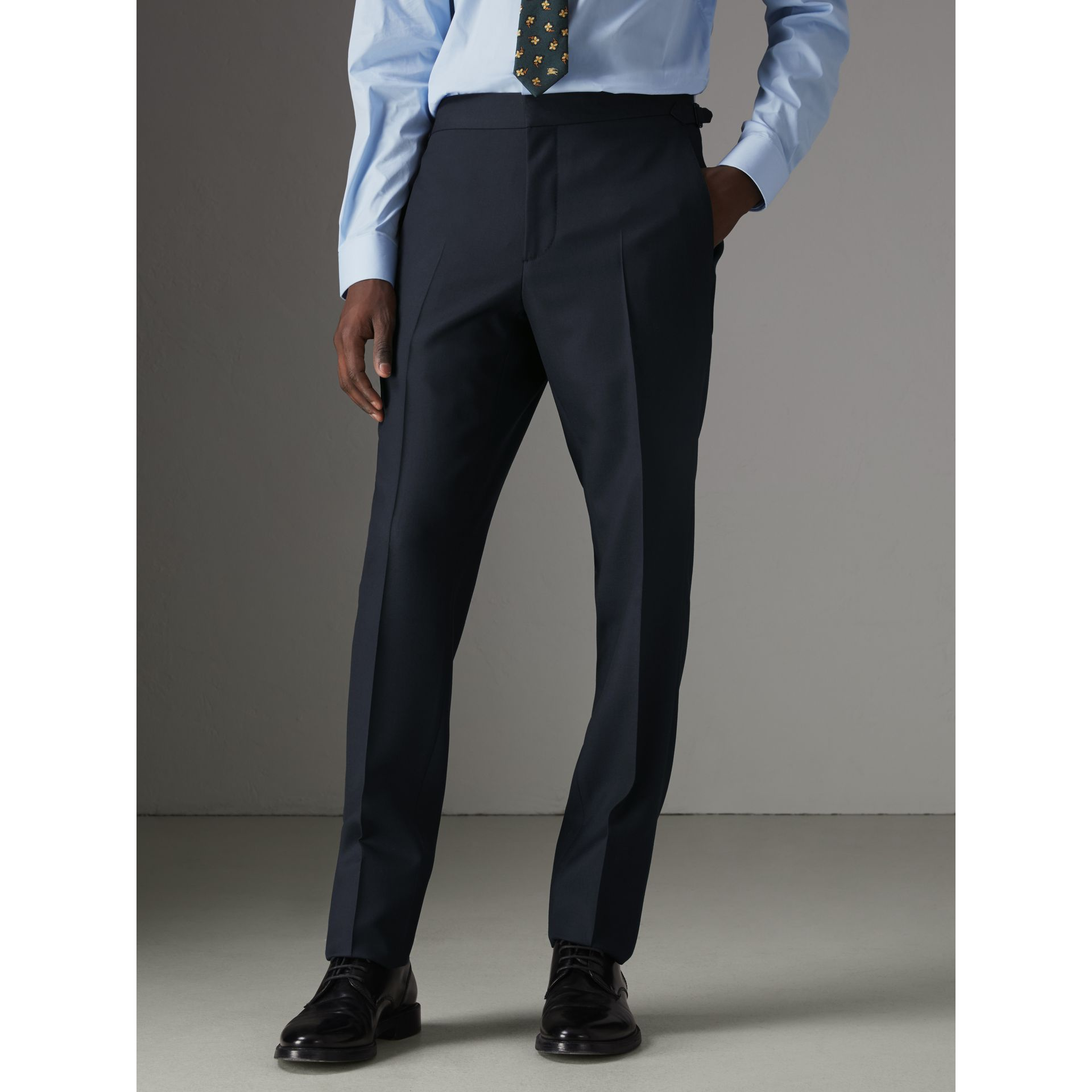 Slim Fit Wool Half-canvas Tuxedo in Navy - Men | Burberry Singapore - gallery image 6