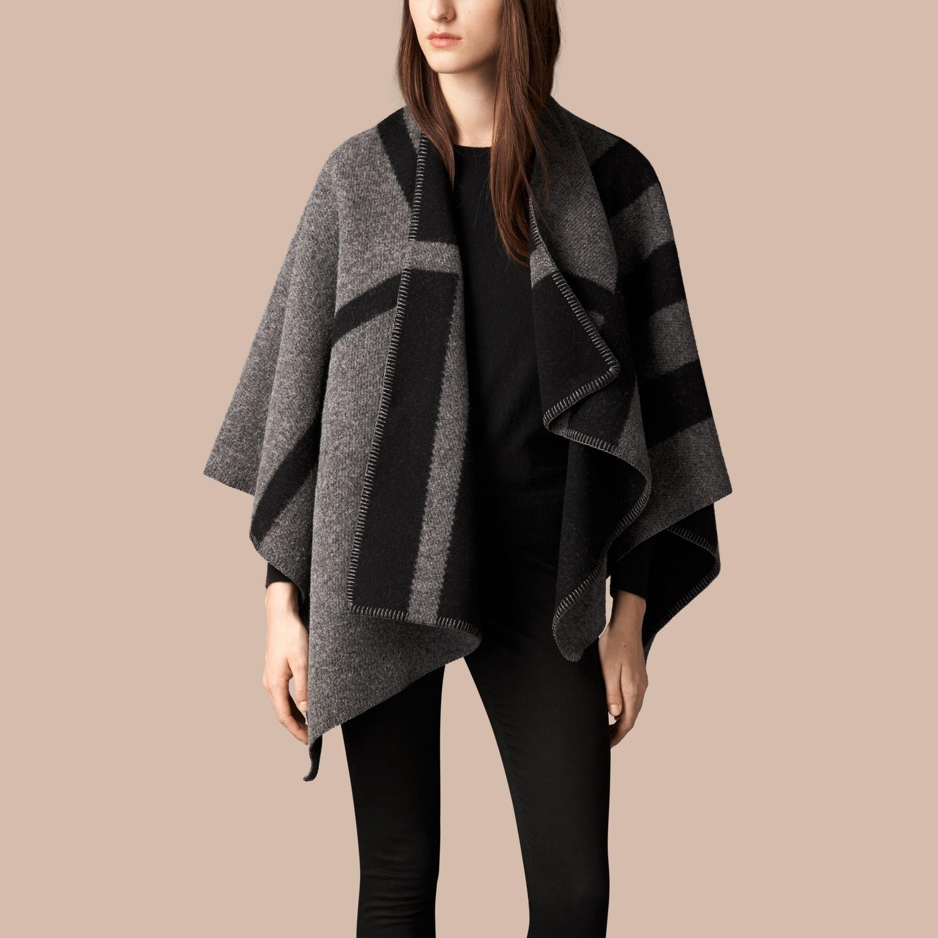 Dark grey check Check Wool and Cashmere Blanket Poncho Dark Grey - gallery image 1