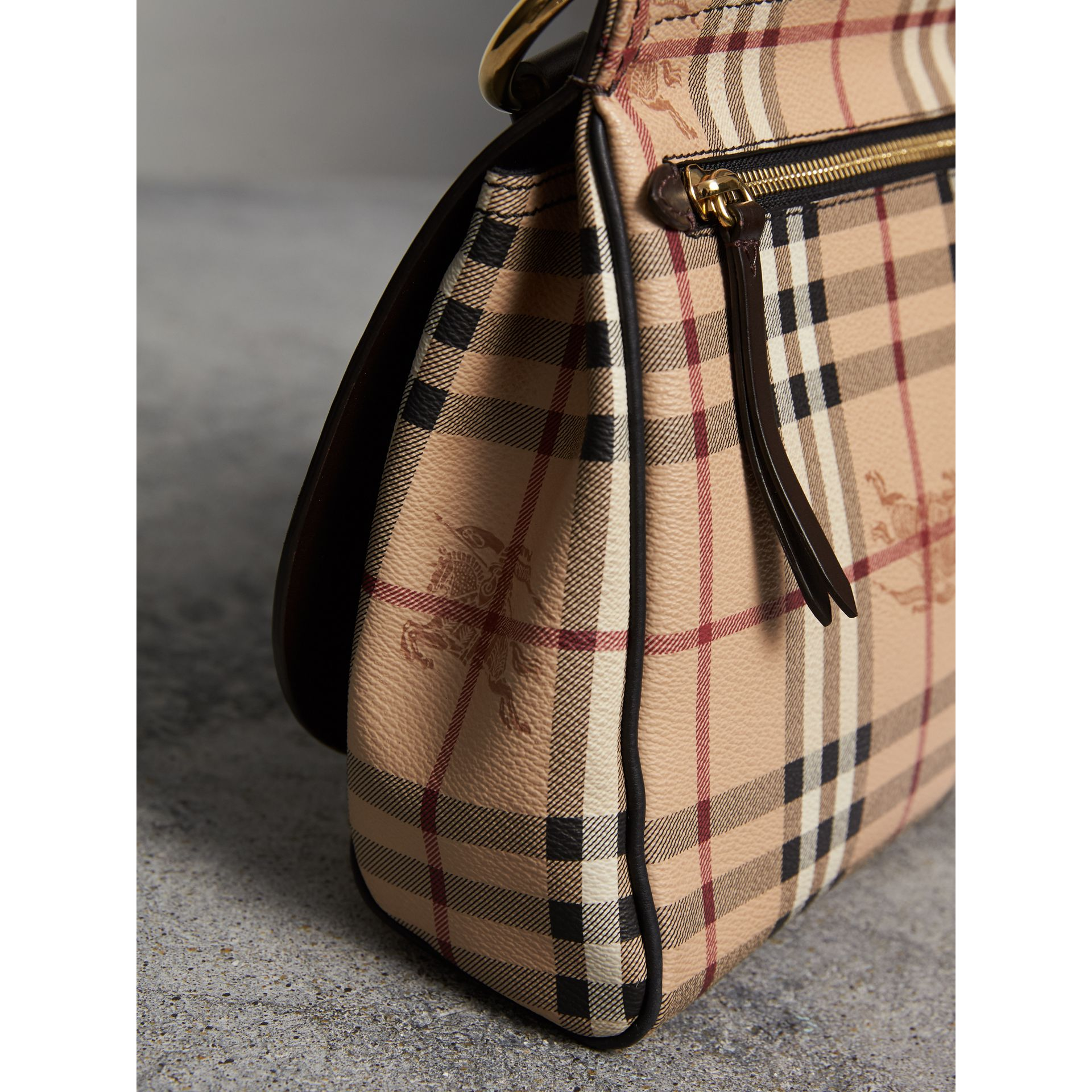 The Bridle Crossbody Bag in Haymarket Check in Dark Clove Brown - Women | Burberry United Kingdom - gallery image 6