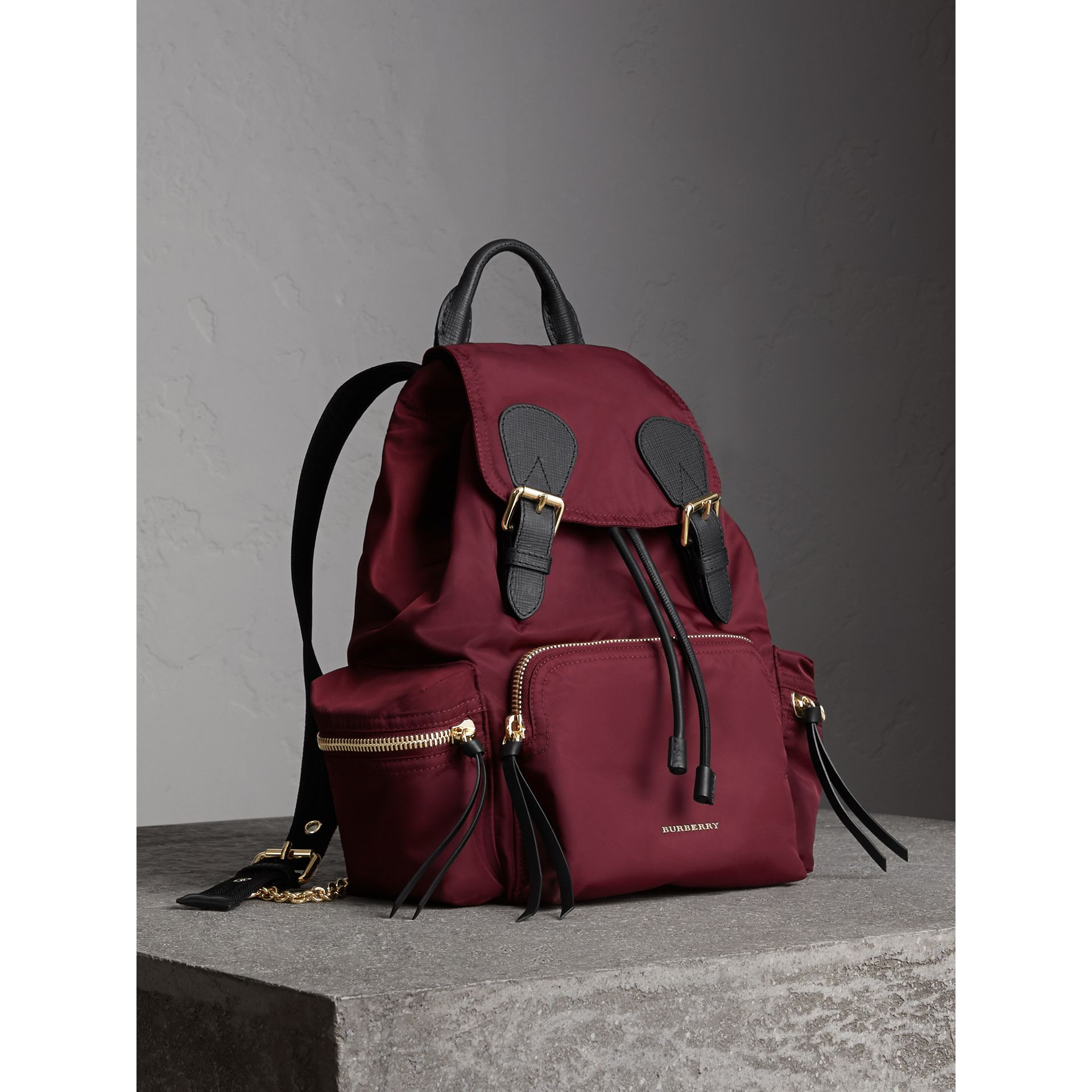 The Medium Rucksack in Technical Nylon and Leather in Burgundy Red - Women | Burberry United Kingdom - gallery image 1