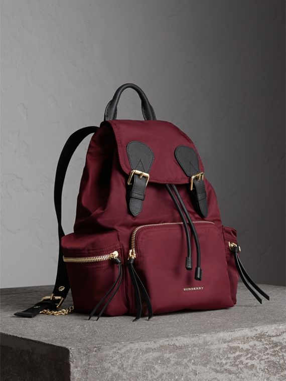 The Medium Rucksack in Technical Nylon and Leather in Burgundy Red