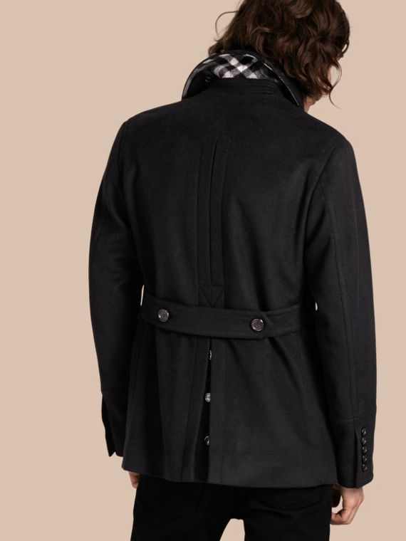 Black Wool Cashmere Pea Coat - cell image 2
