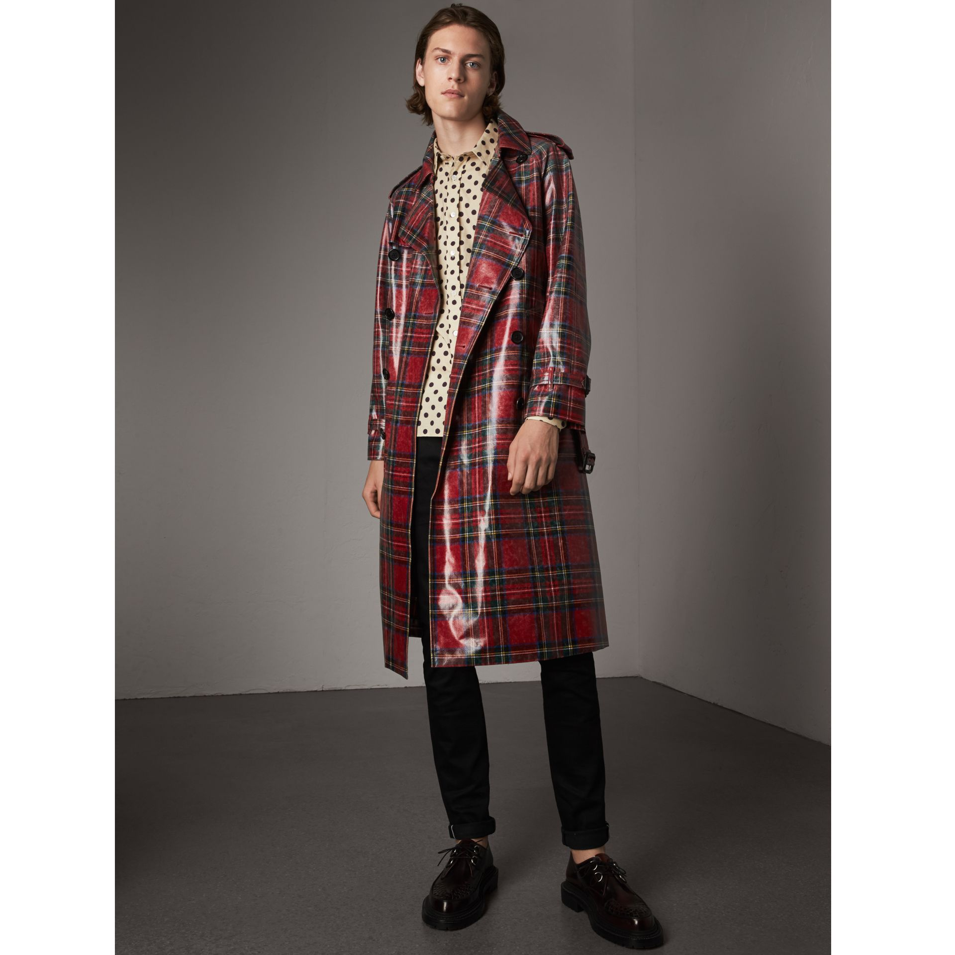 Laminated Tartan Wool Trench Coat in Bright Red - Men | Burberry - gallery image 1