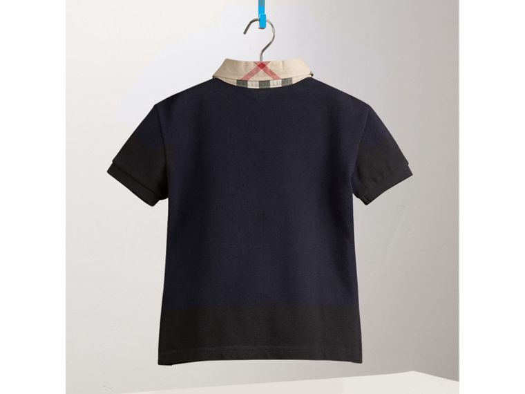 Check Collar Polo Shirt in True Navy - Boy | Burberry Canada - cell image 2