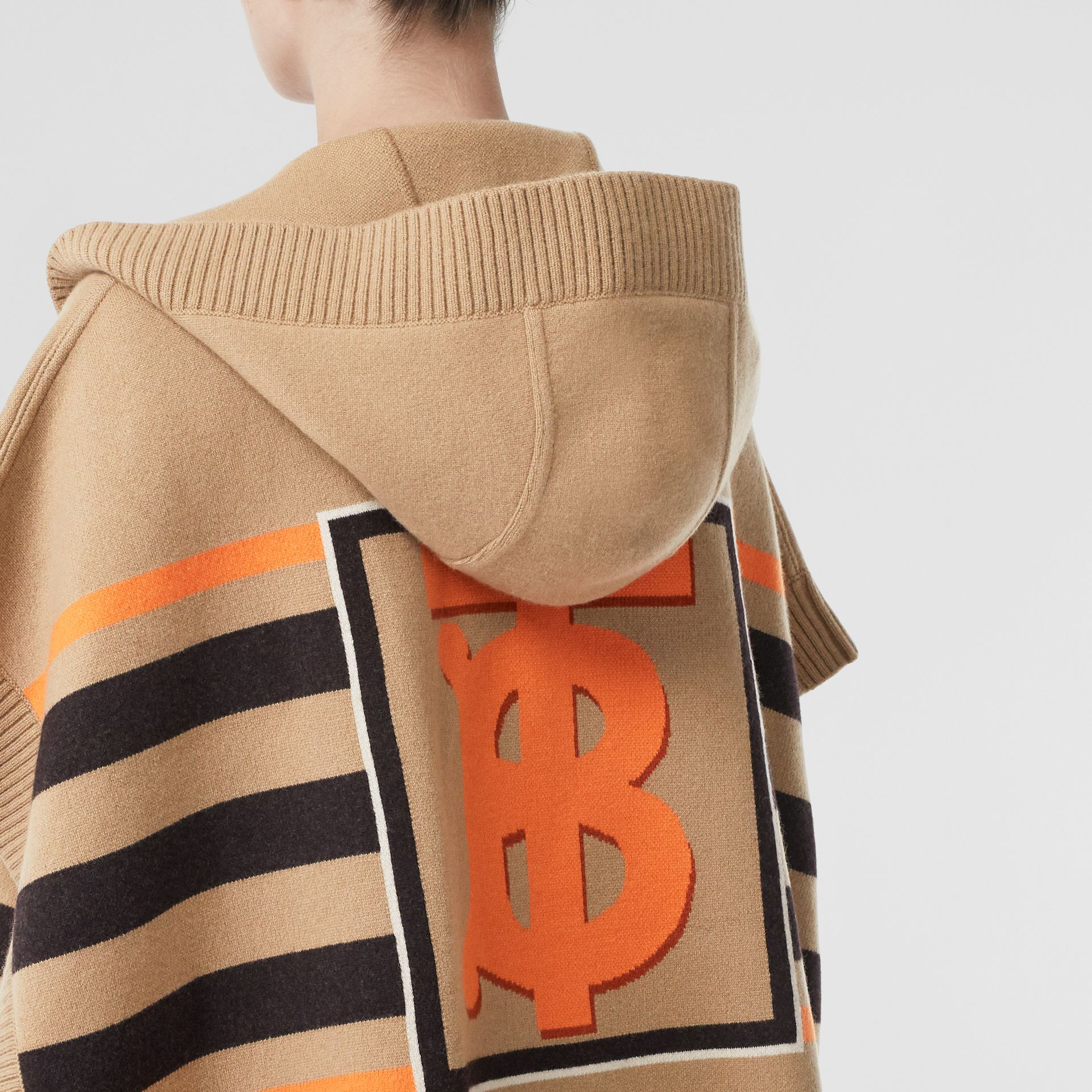 Monogram Motif Intarsia Wool Cashmere Blend Cape in Archive Beige - Women | Burberry Australia - gallery image 1