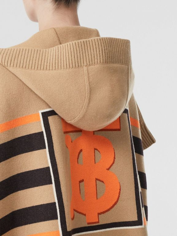 Monogram Motif Intarsia Wool Cashmere Blend Cape in Archive Beige - Women | Burberry - cell image 1
