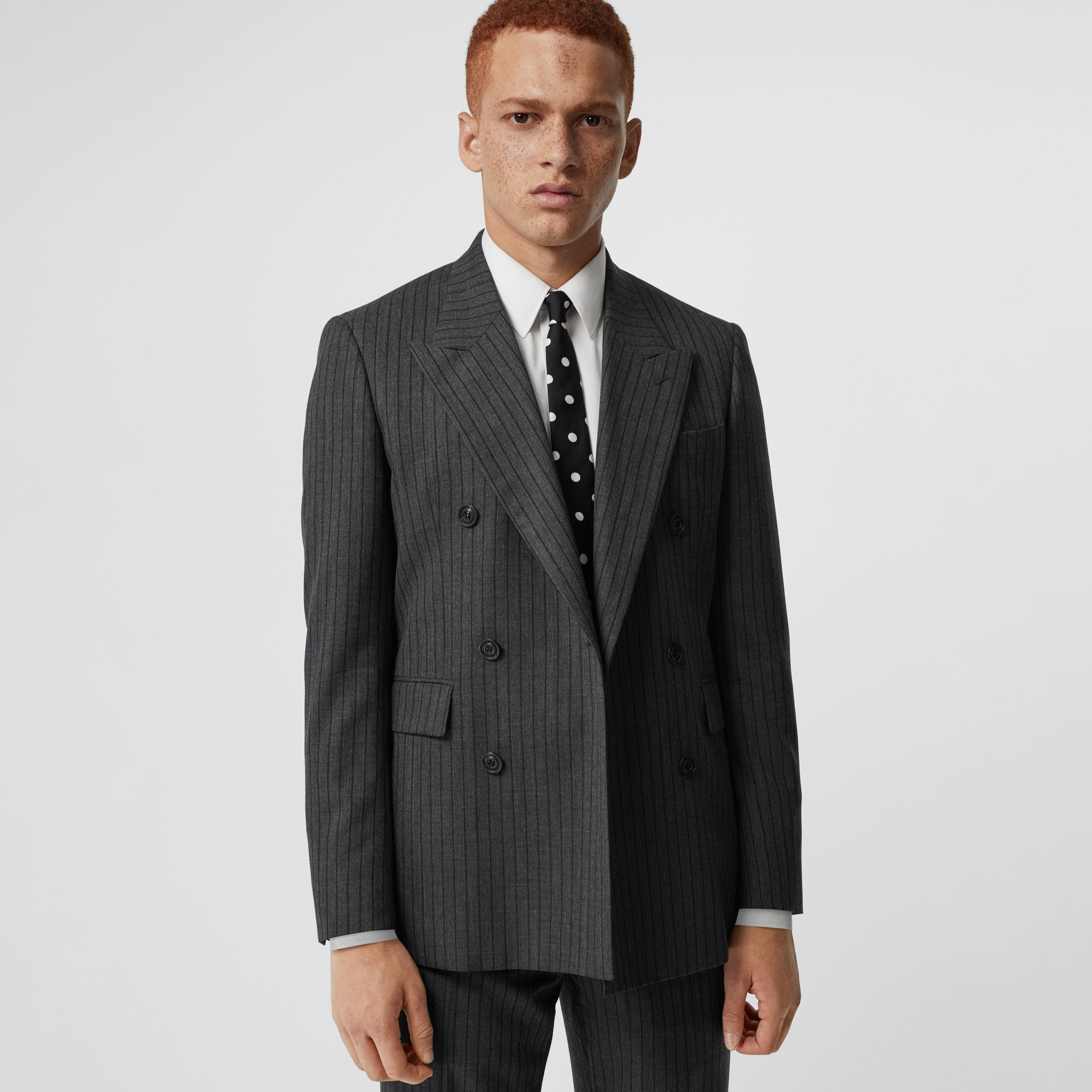 Classic Fit Pinstriped Wool Tailored Jacket in Mid Grey Melange - Men | Burberry - gallery image 5