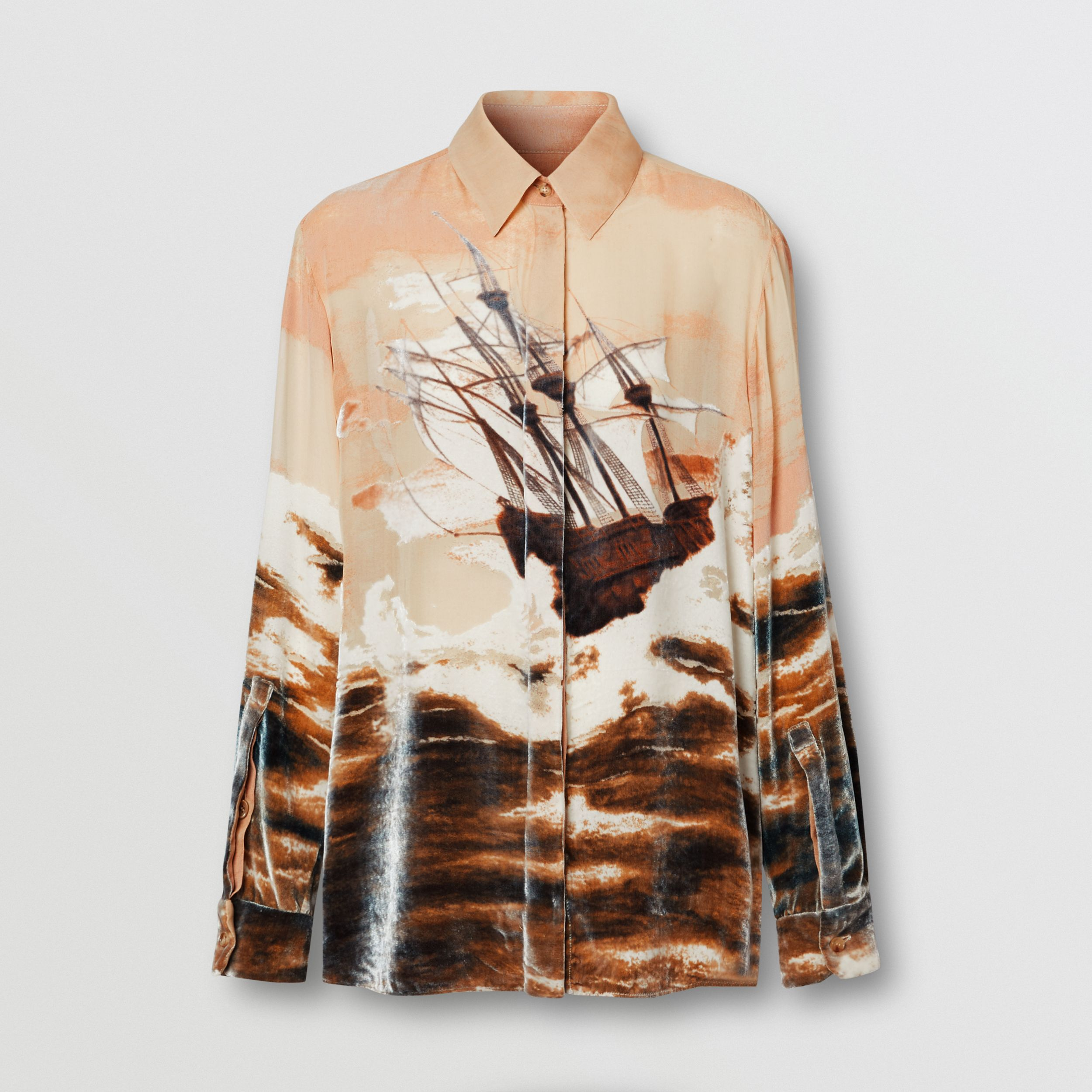 Ship Print Devoré Silk Blend Oversized Shirt in Bronze - Women | Burberry - 4