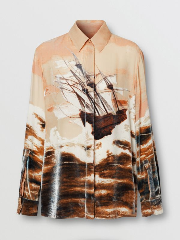 Ship Print Devoré Silk Blend Oversized Shirt in Bronze - Women | Burberry - cell image 3