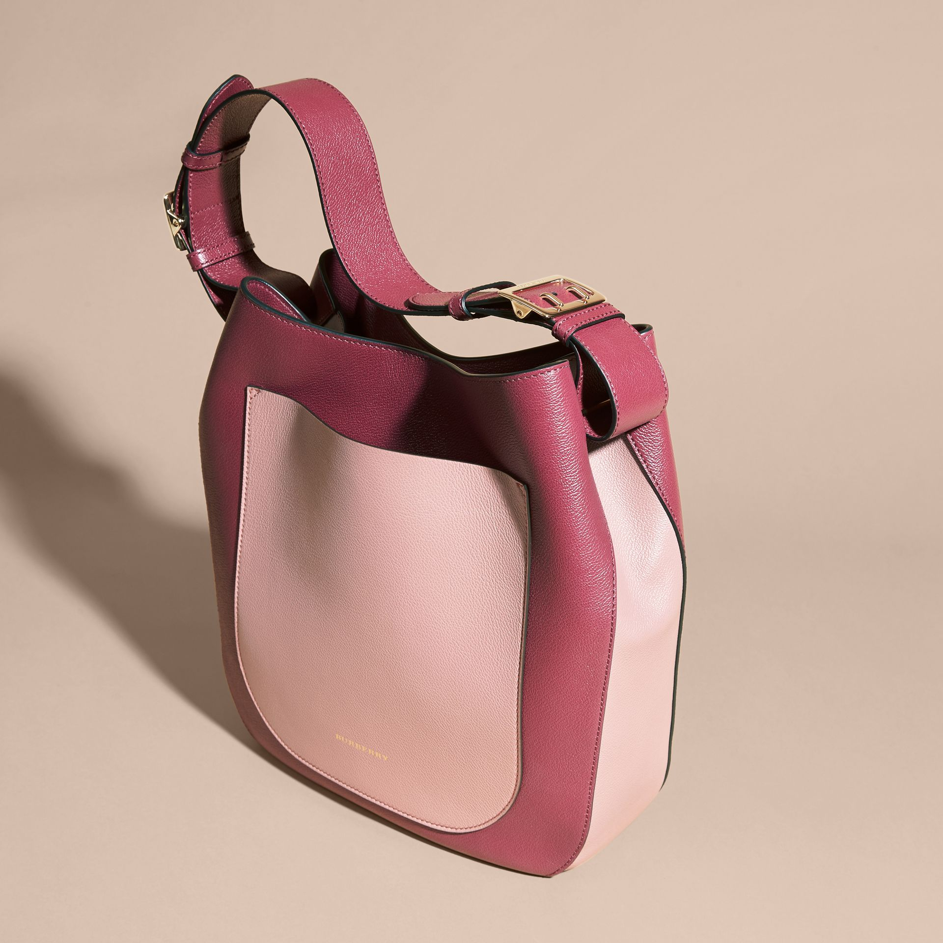 Textured Leather Shoulder Bag in Dark Plum/ Dusty Pink - gallery image 7