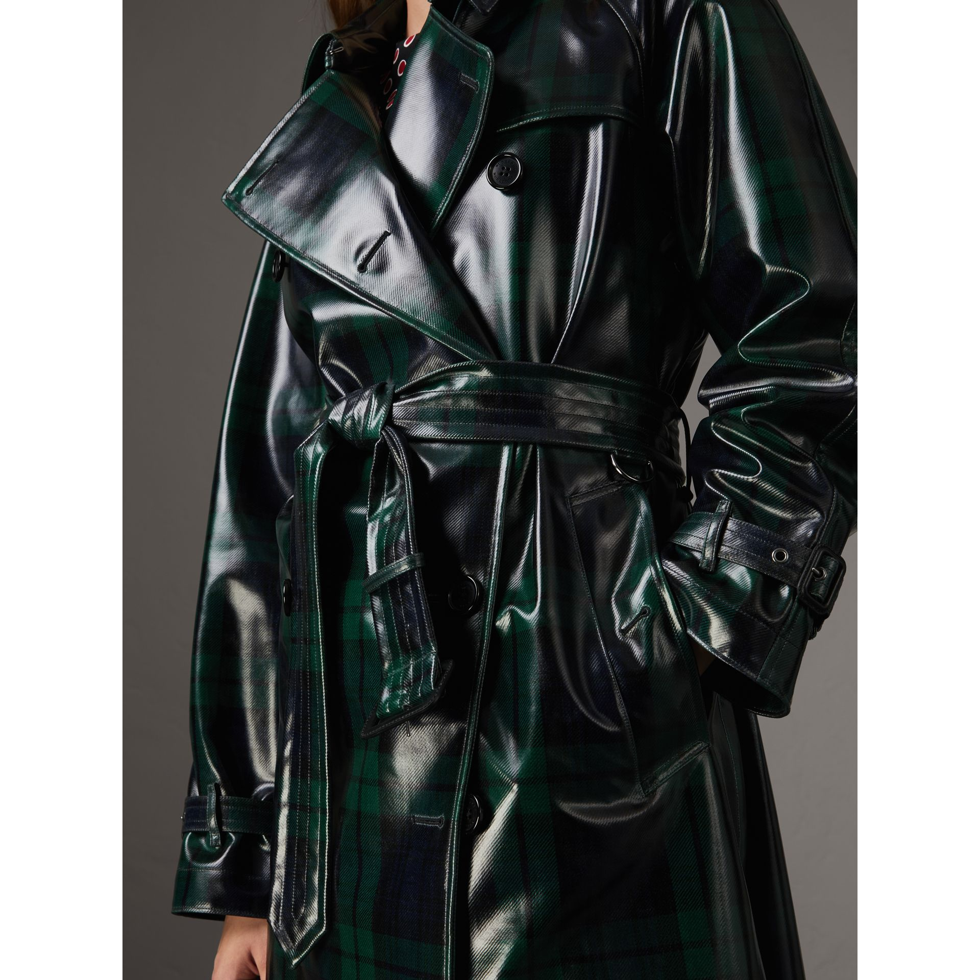 Laminated Tartan Wool Trench Coat in Navy - Women | Burberry United Kingdom - gallery image 1