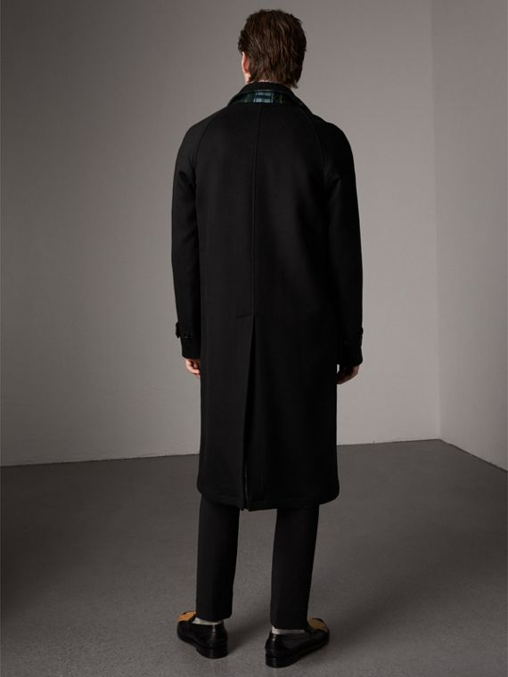 Reversible Cashmere and Tartan Wool Car Coat in Black - Men | Burberry - cell image 2