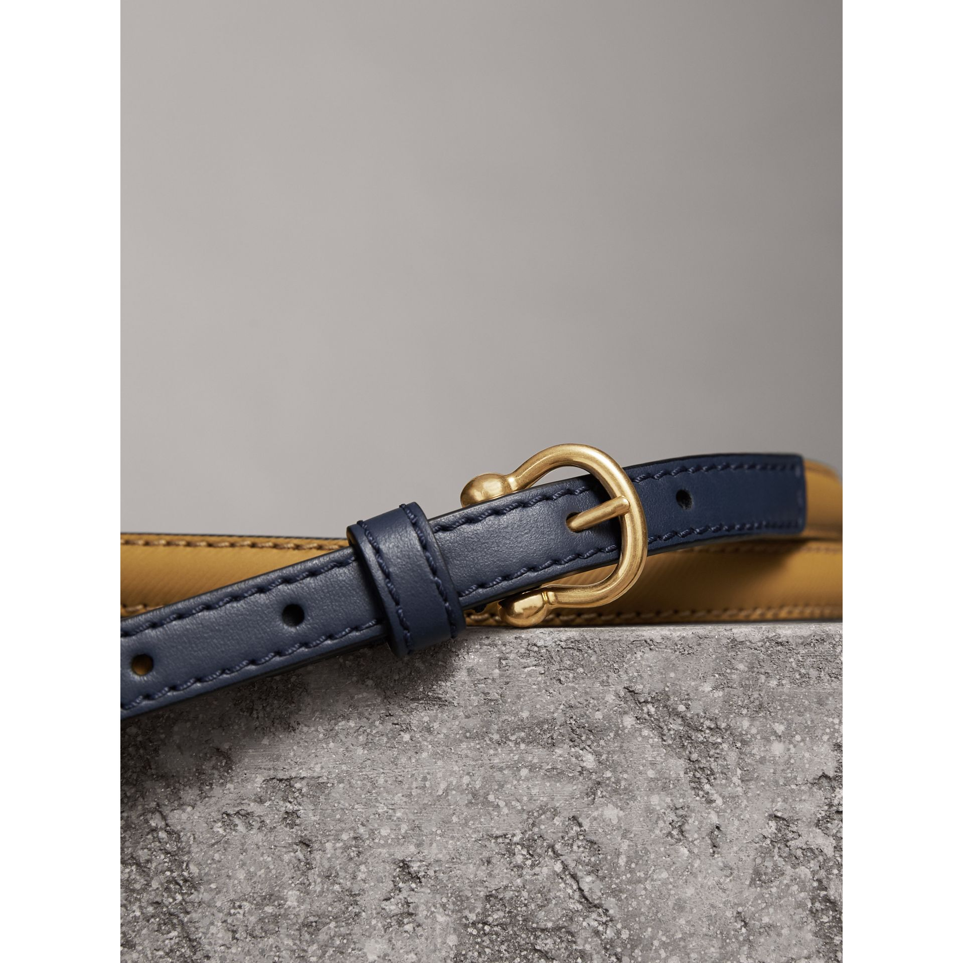 Two-tone Trench Leather Belt in Ochre Yellow / Ink Blue - Women | Burberry Australia - gallery image 2