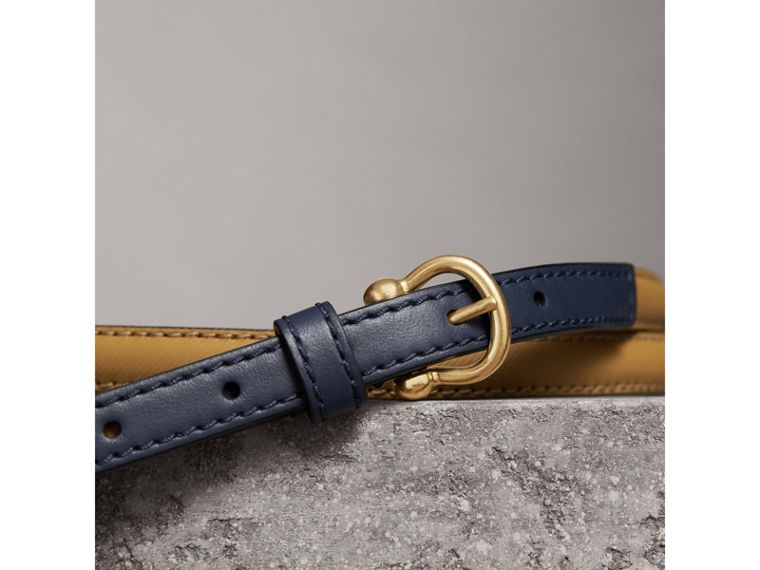 Two-tone Trench Leather Belt in Ochre Yellow / Ink Blue - Women | Burberry Australia - cell image 1