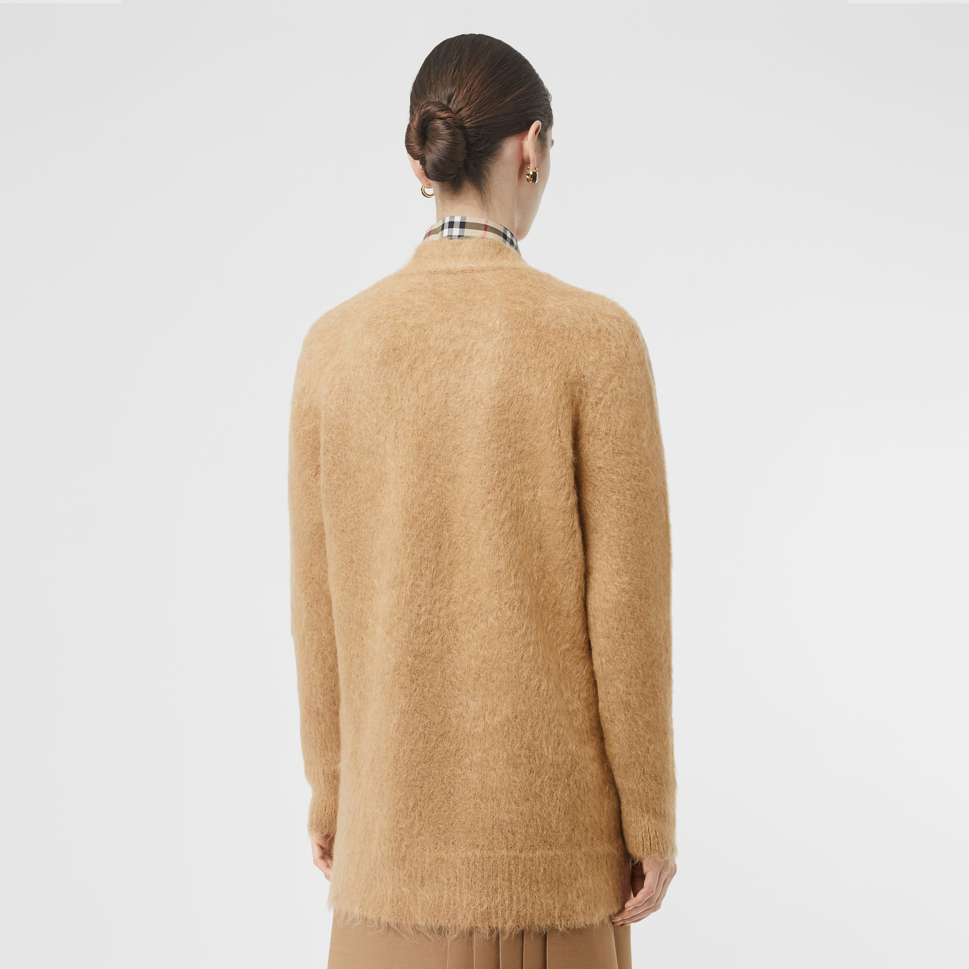 Silk Mohair Wool Blend V-neck Cardigan in Light Camel - Women | Burberry Australia - gallery image 2