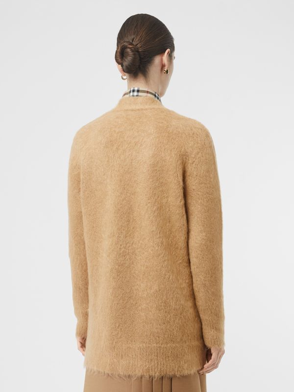 Silk Mohair Wool Blend V-neck Cardigan in Light Camel - Women | Burberry Australia - cell image 2