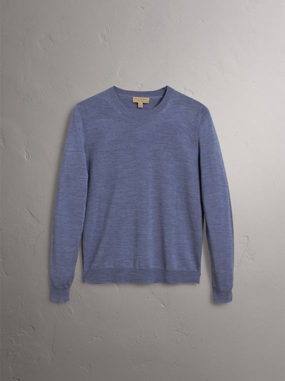 Check Detail Merino Wool Sweater in Indigo Blue - Women | Burberry - cell image 3