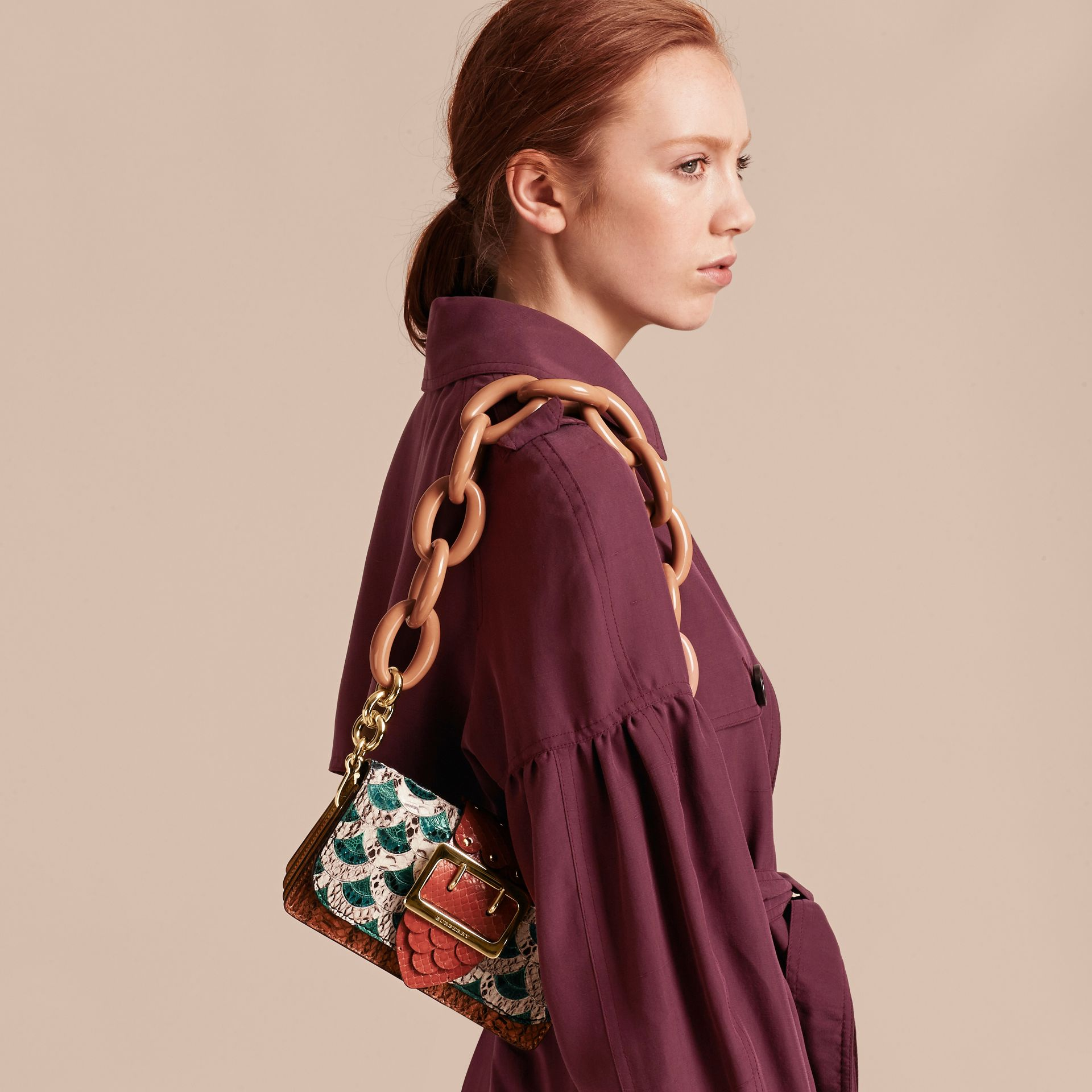 The Small Buckle Bag in Scallop Trim Snakeskin and Ostrich - gallery image 9