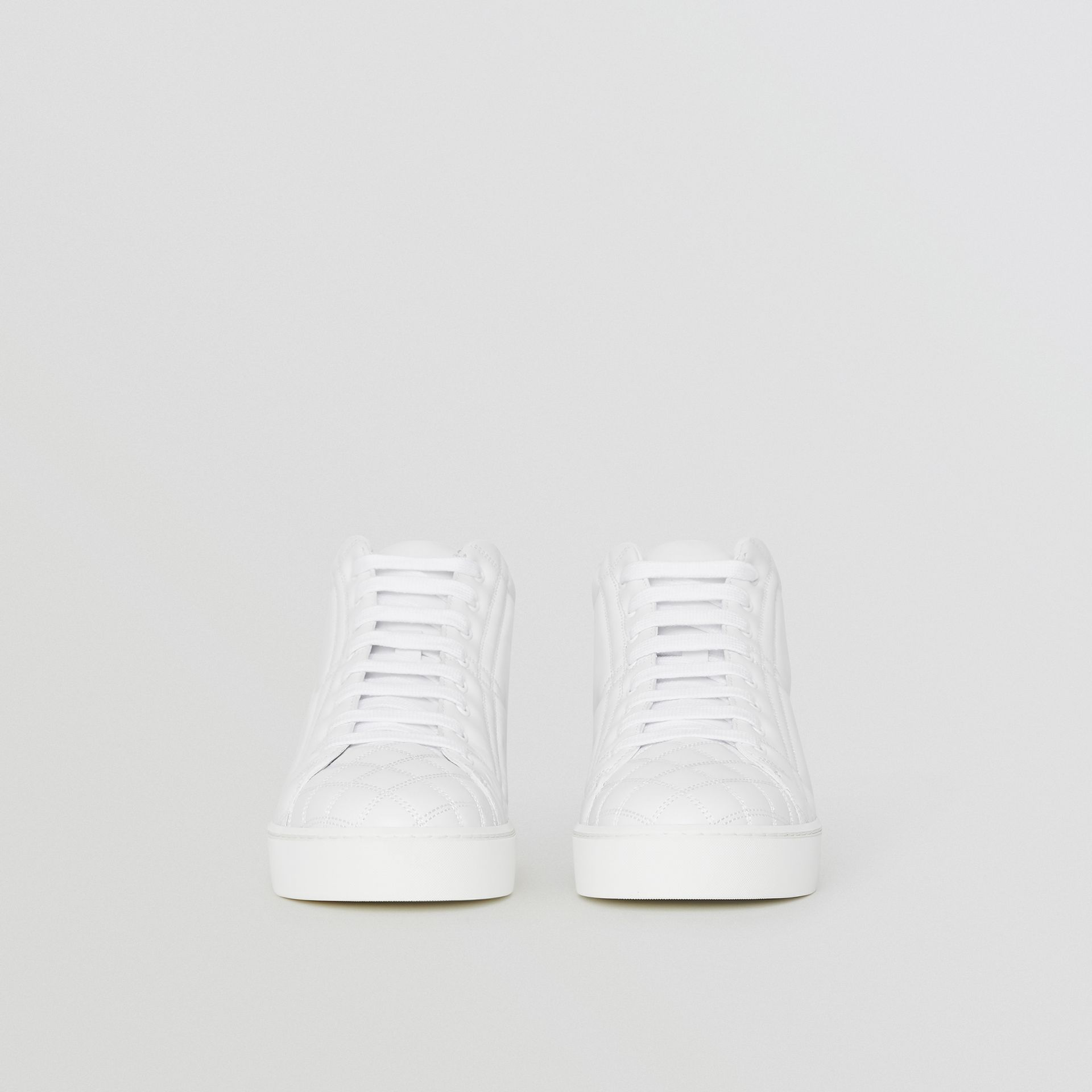 Check-quilted Leather High-top Sneakers in Optic White - Women | Burberry United Kingdom - gallery image 3