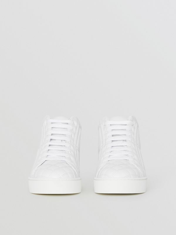 Check-quilted Leather High-top Sneakers in Optic White - Women | Burberry - cell image 3