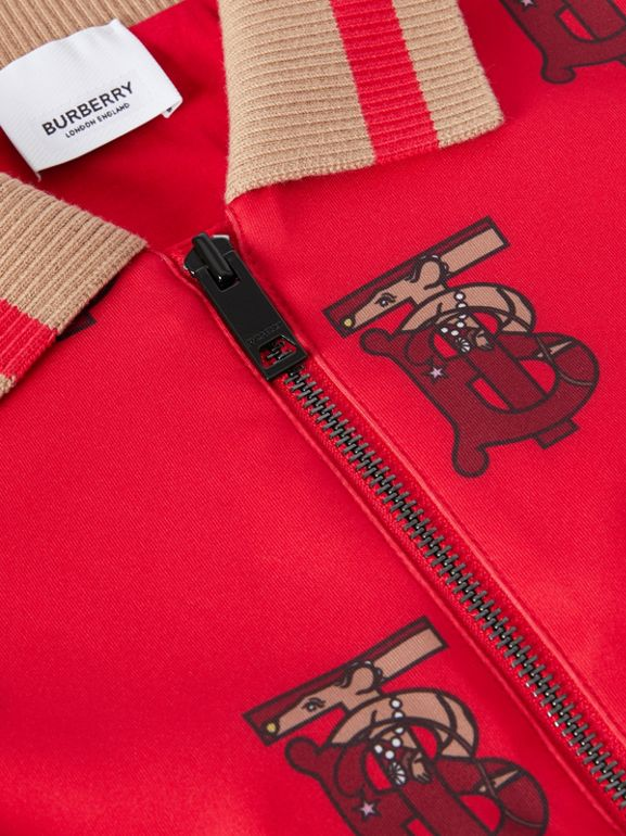 Monogram Motif Neoprene Track Top in Bright Red | Burberry Singapore - cell image 1
