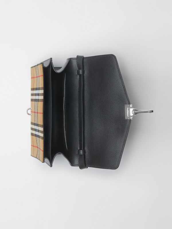 Small Vintage Check and Leather Crossbody Bag in Black - Women | Burberry Singapore - cell image 3