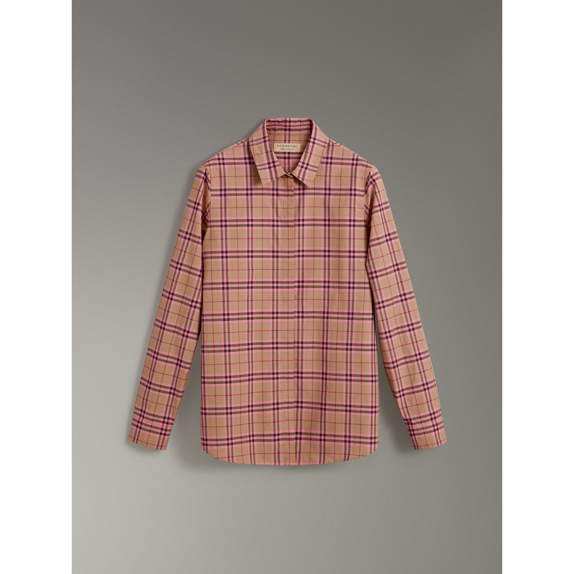 Check Cotton Shirt in Pomegranate Pink - Women | Burberry - gallery image 3