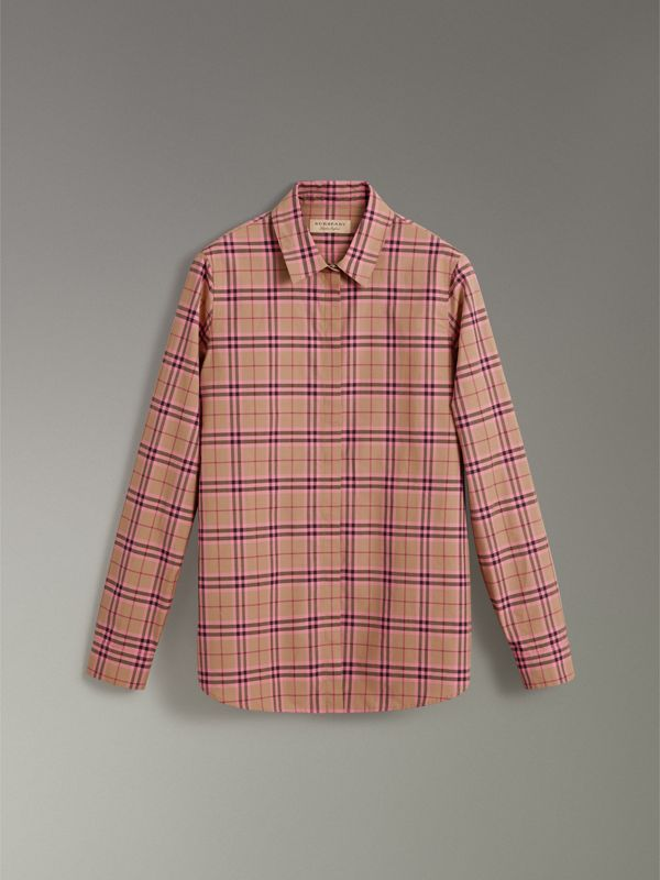 Check Cotton Shirt in Pomegranate Pink - Women | Burberry - cell image 3