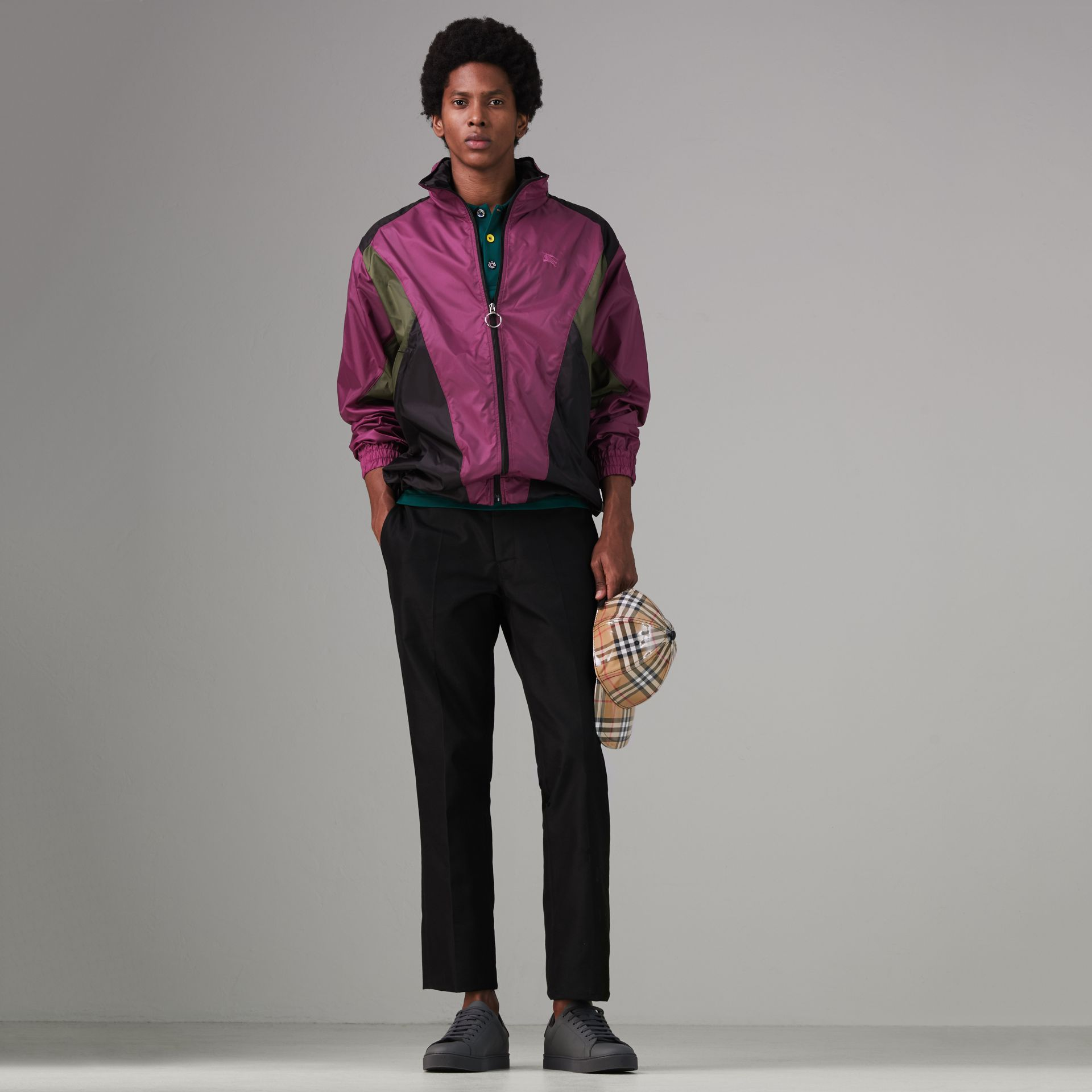Packaway Hood Colour Block Lightweight Jacket in Regency Purple - Men | Burberry - gallery image 0