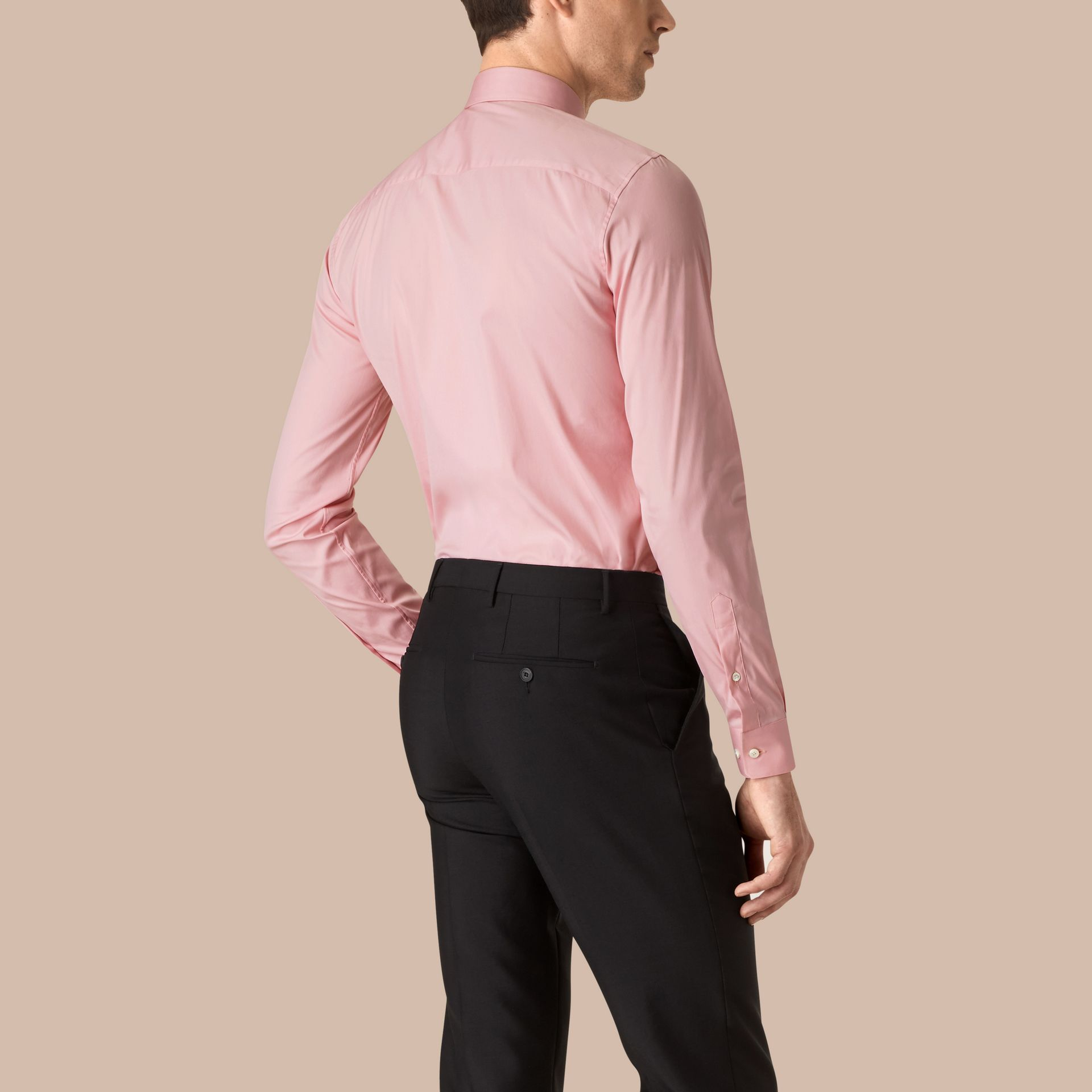 City pink Slim Fit Stretch Cotton Poplin Shirt City Pink - gallery image 3