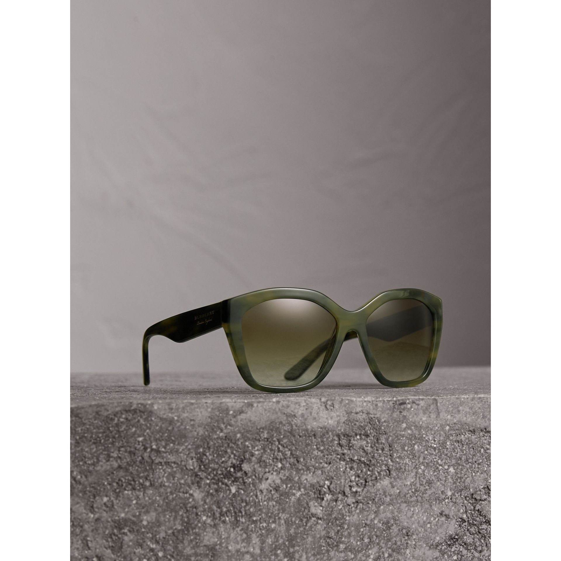 Square Frame Sunglasses in Smokey Green - Women | Burberry United States - gallery image 0