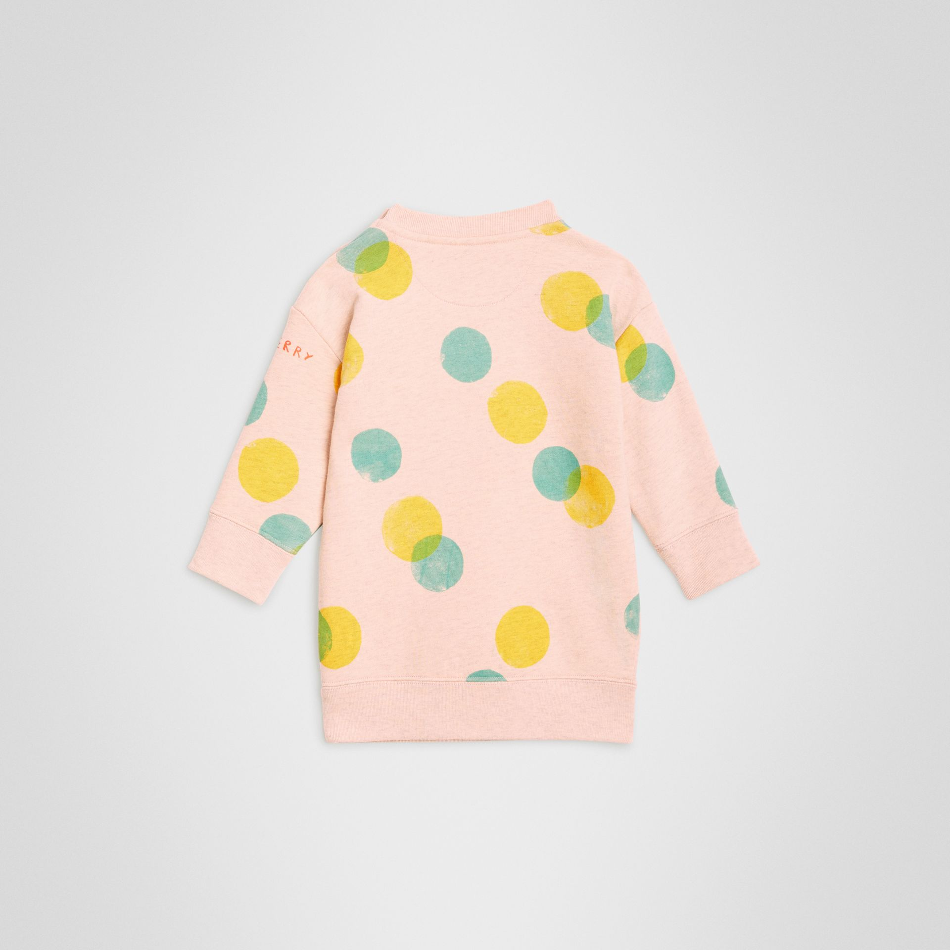 Oversized Spot Print Cotton Sweater Dress in Oyster Pink Melange - Children | Burberry - gallery image 3