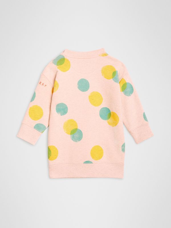 Oversized Spot Print Cotton Sweater Dress in Oyster Pink Melange - Children | Burberry Singapore - cell image 3