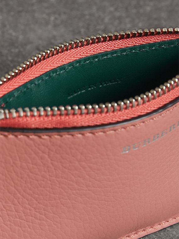Two-tone Leather Zip Card Case in Dusty Rose - Women | Burberry - cell image 3