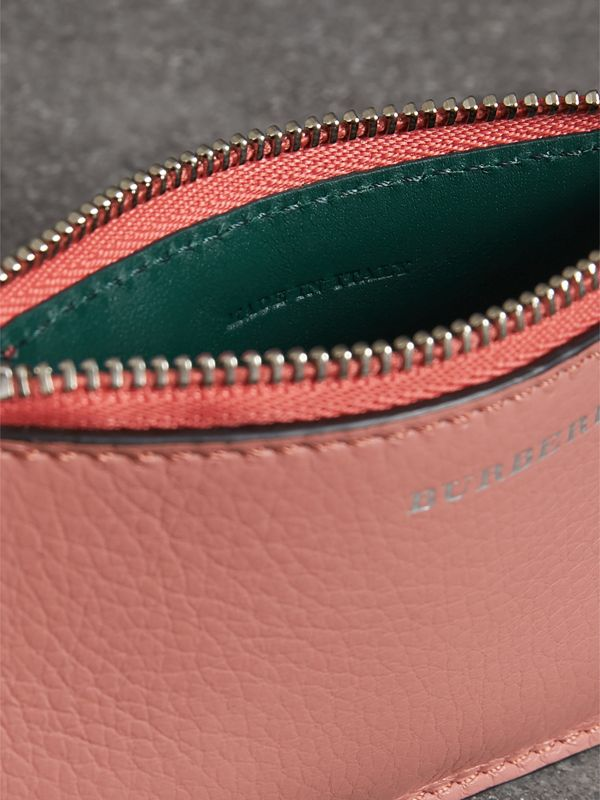 Porte-cartes zippé en cuir bicolore (Dusty Rose) - Femme | Burberry Canada - cell image 3
