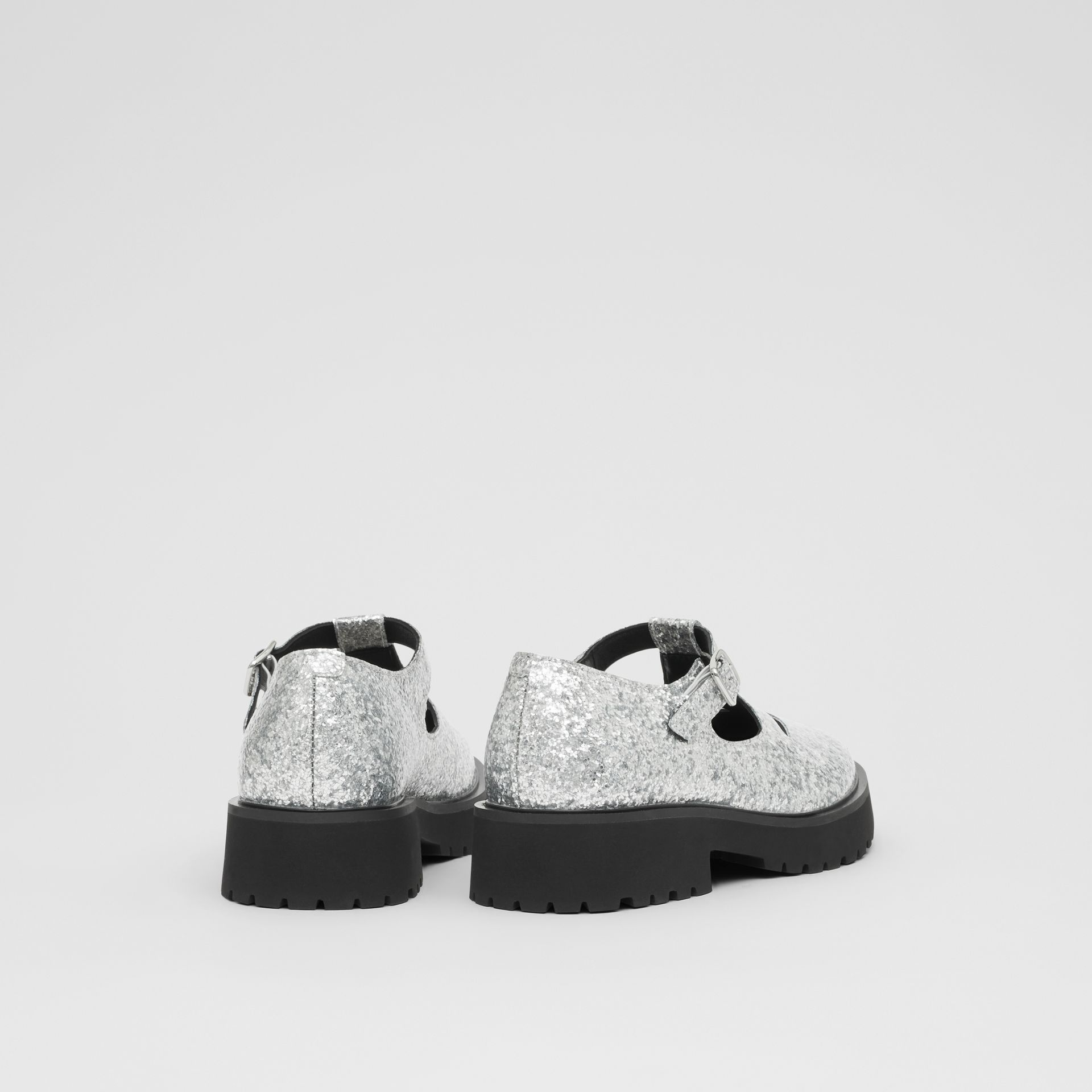 Glittery T-bar Shoes in Silver - Children | Burberry United Kingdom - gallery image 2