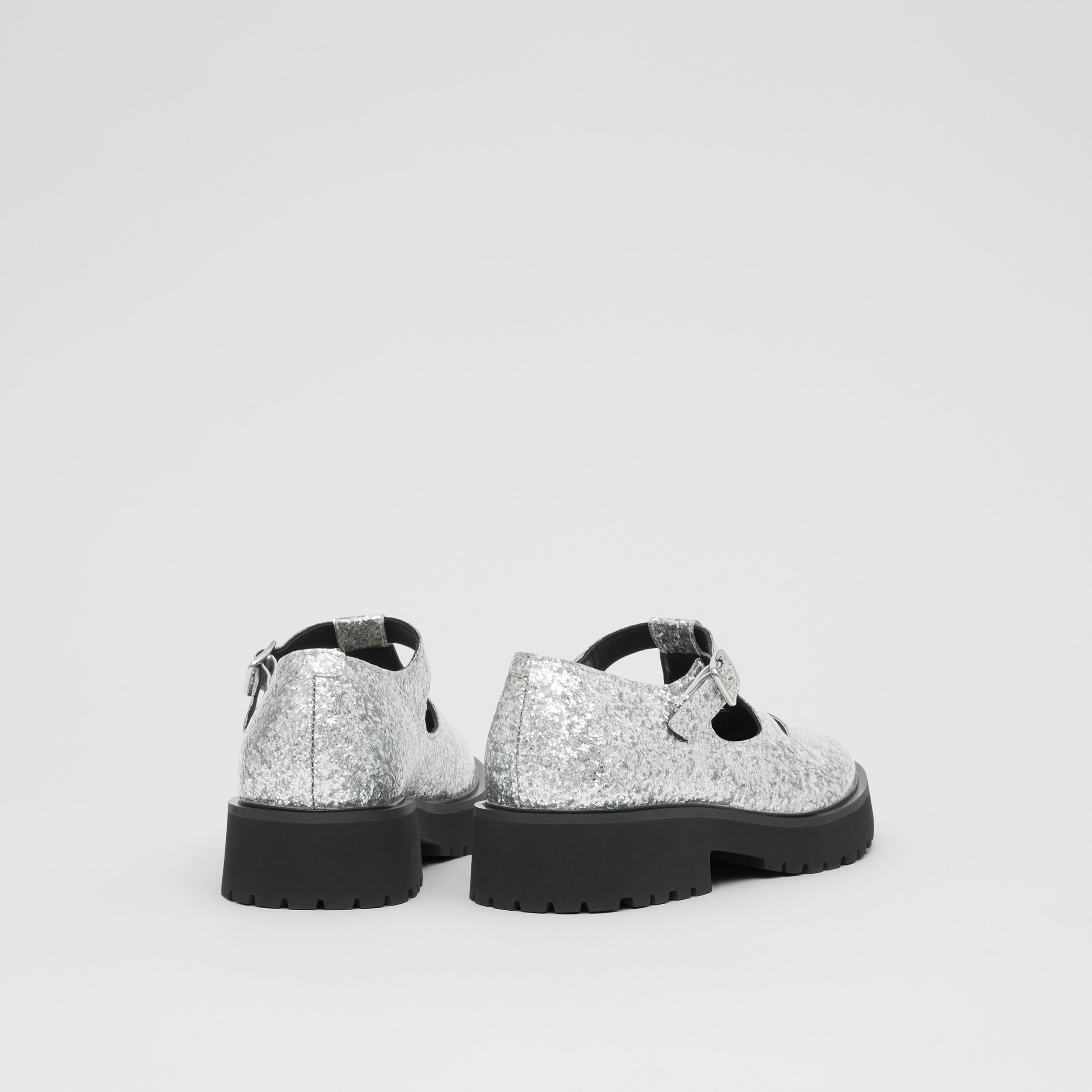 Glittery T-bar Shoes in Silver - Children | Burberry - 3