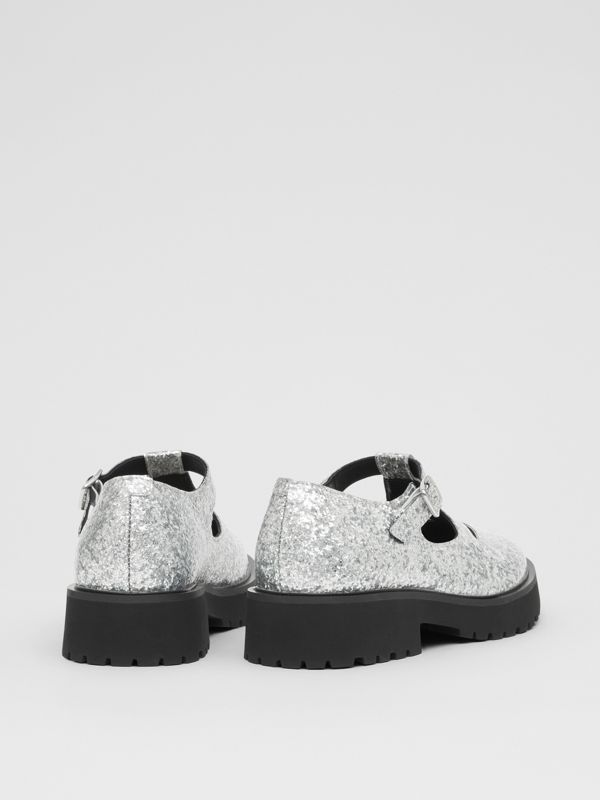 Glittery T-bar Shoes in Silver - Children | Burberry - cell image 2
