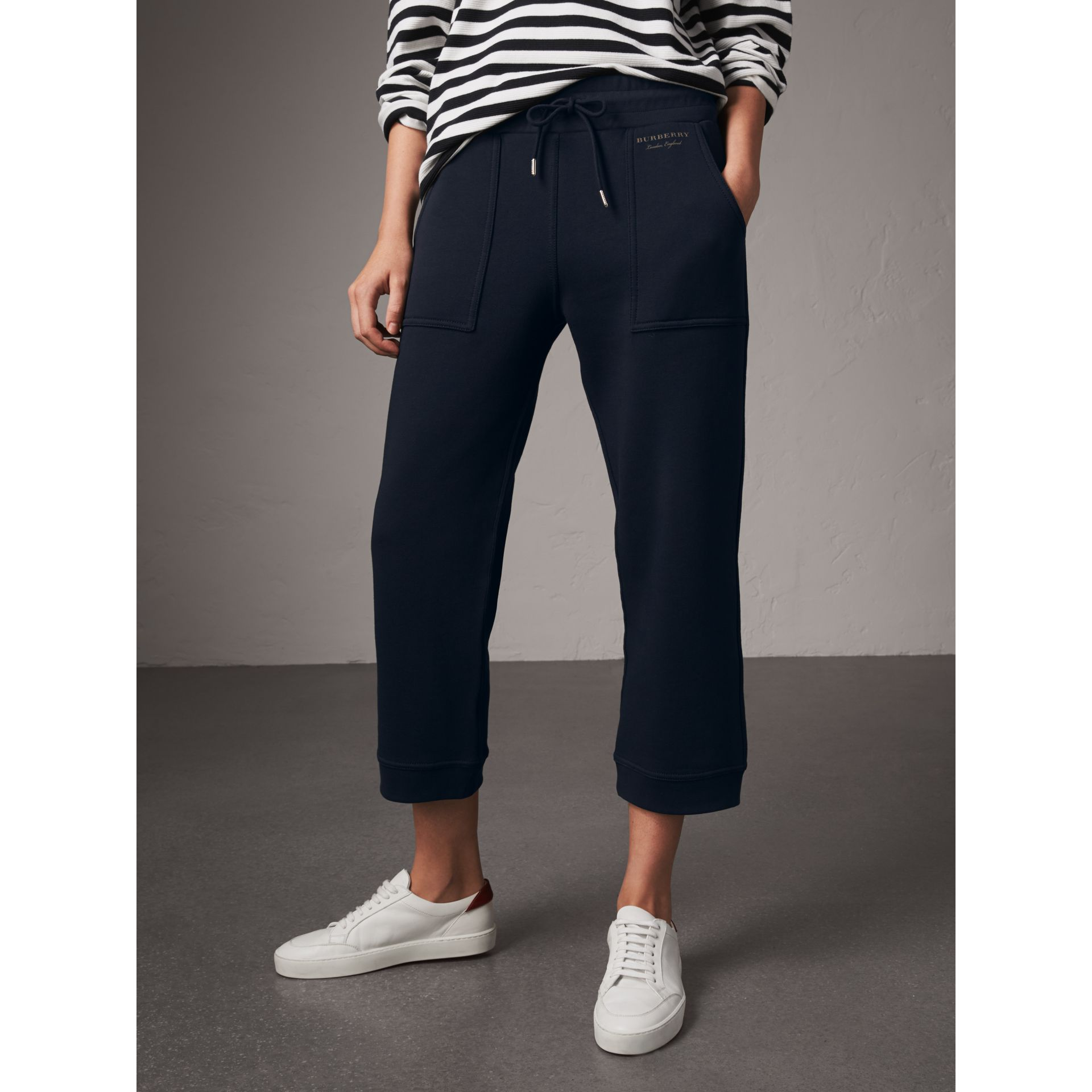 Cropped Jersey Sweatpants in Navy - Women | Burberry - gallery image 5