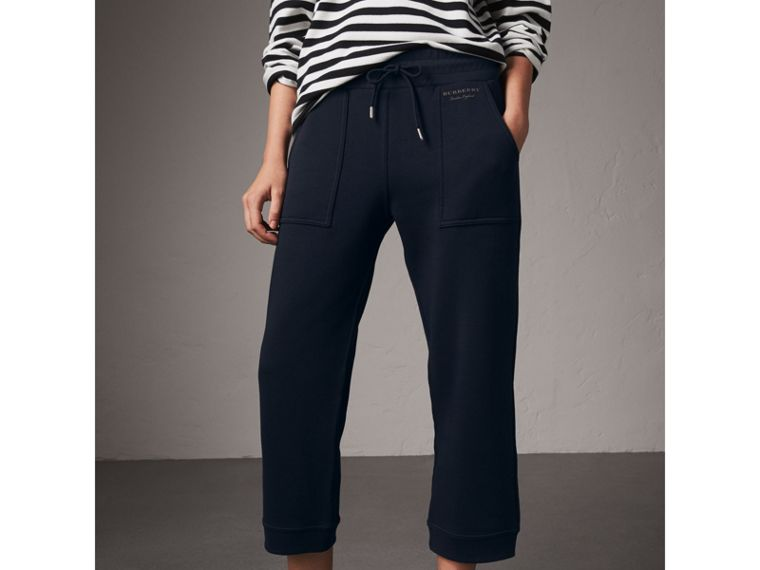 Cropped Jersey Sweatpants in Navy - Women | Burberry - cell image 4