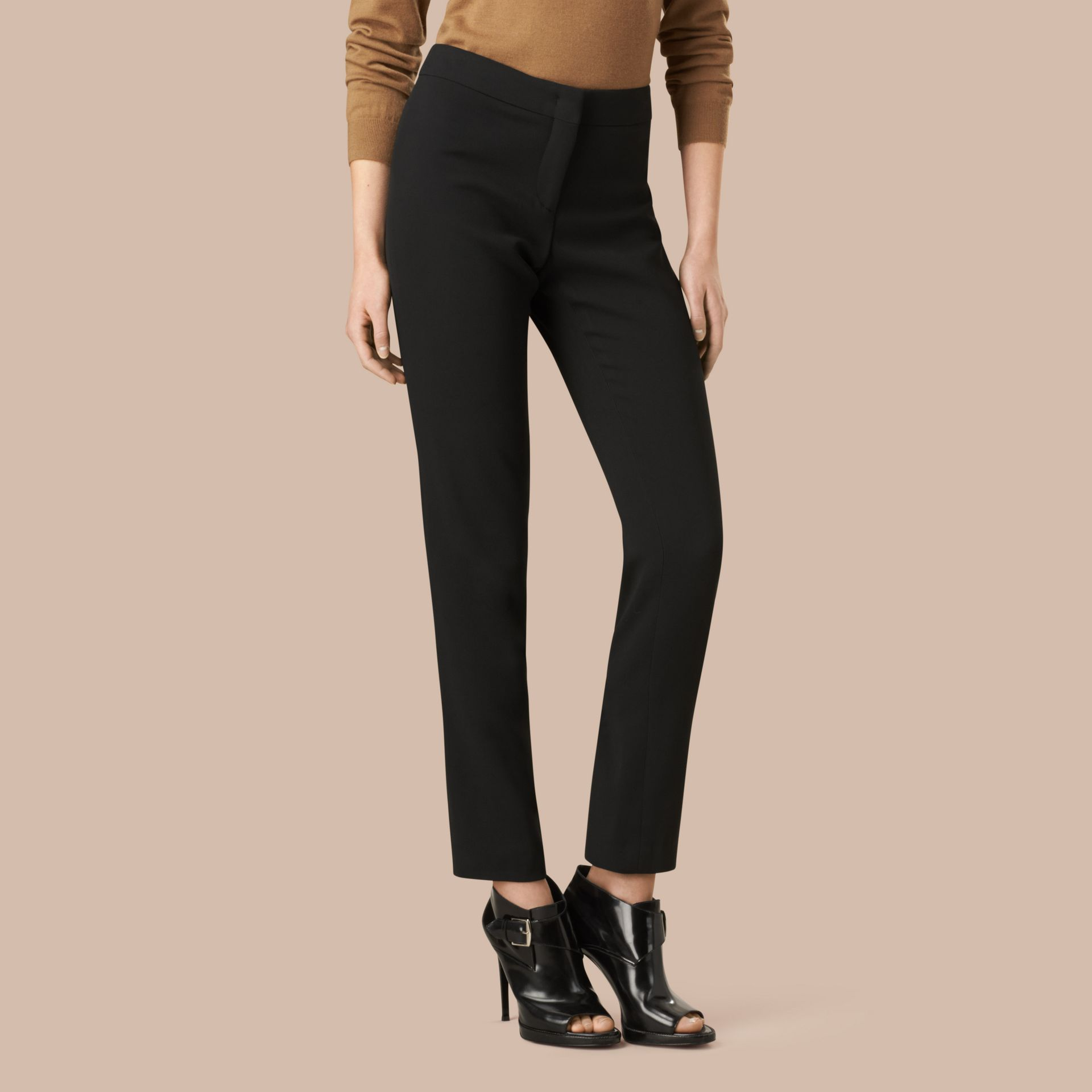 Black Slim Fit Faille Trousers - gallery image 2