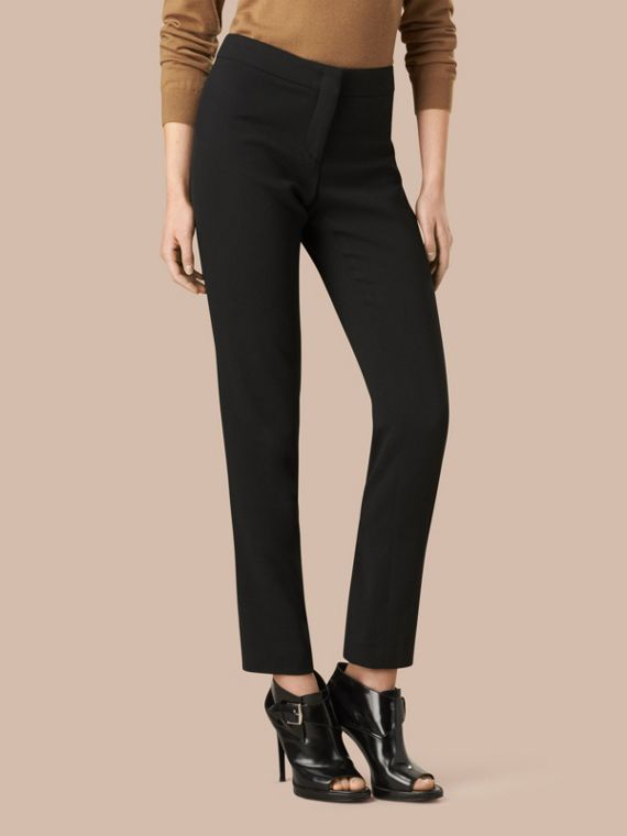 Slim Fit Faille Trousers in Black