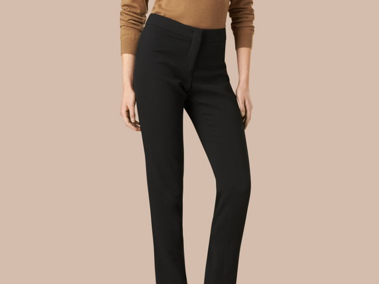 Black Slim Fit Faille Trousers - cell image 1