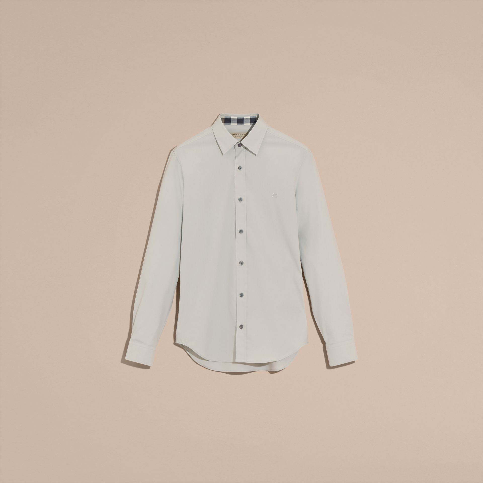 Check Detail Stretch Cotton Poplin Shirt Pale Grey - gallery image 4