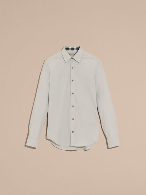 Check Detail Stretch Cotton Poplin Shirt Pale Grey - cell image 3