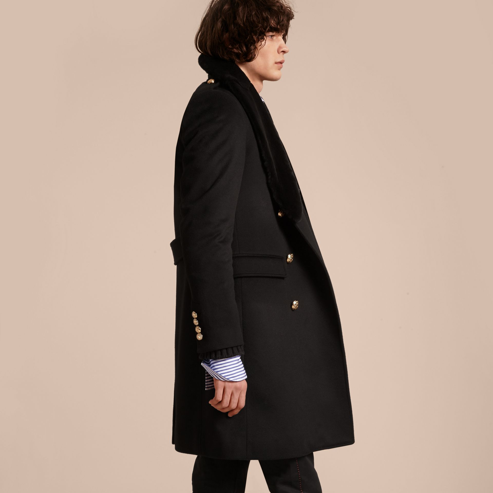 Regimental Cashmere Coat with Detachable Mink Collar - Men | Burberry - gallery image 3