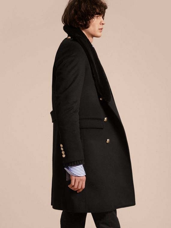 Black Regimental Cashmere Coat with Detachable Mink Collar - cell image 2