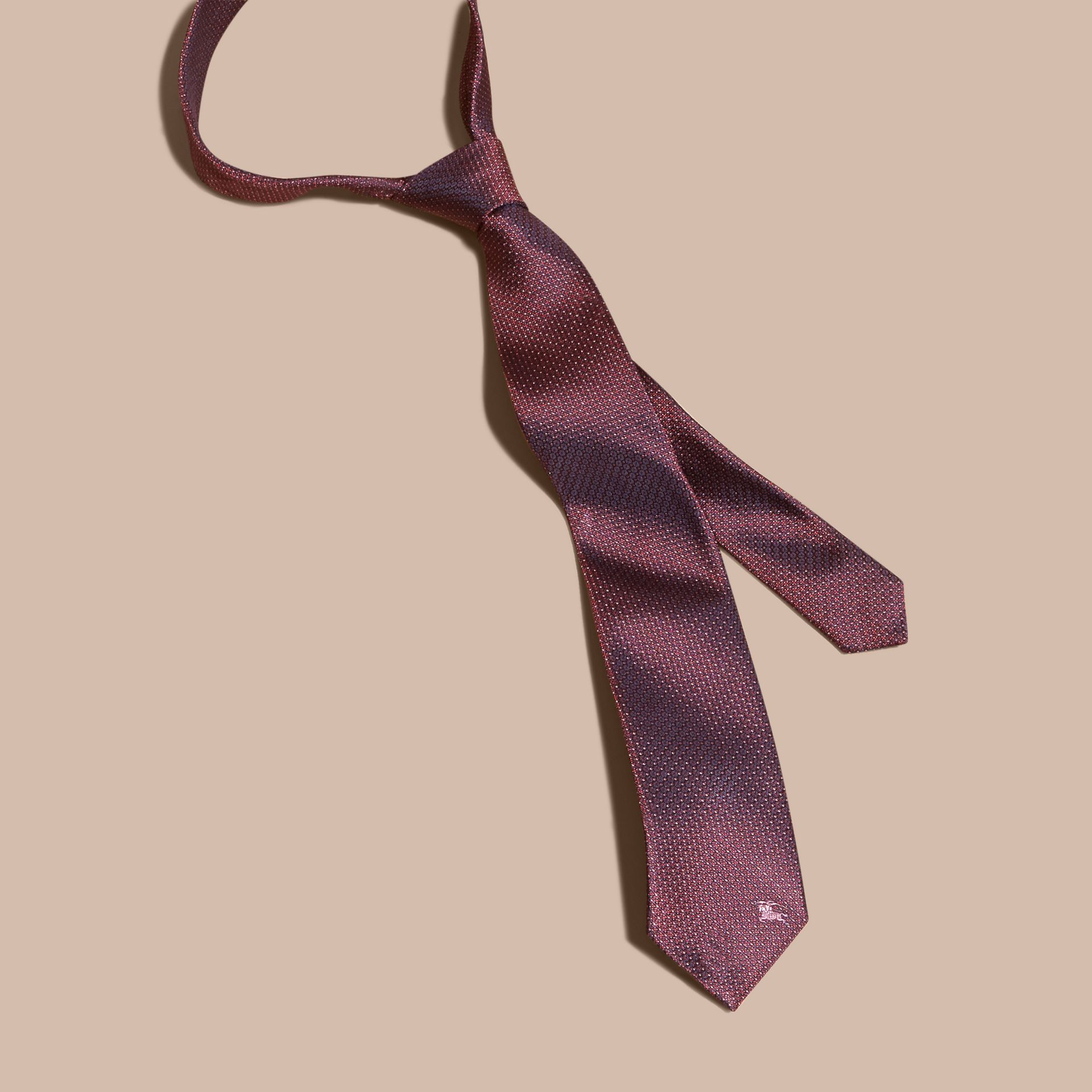 Modern Cut Patterned Silk Tie in Deep Claret - gallery image 5