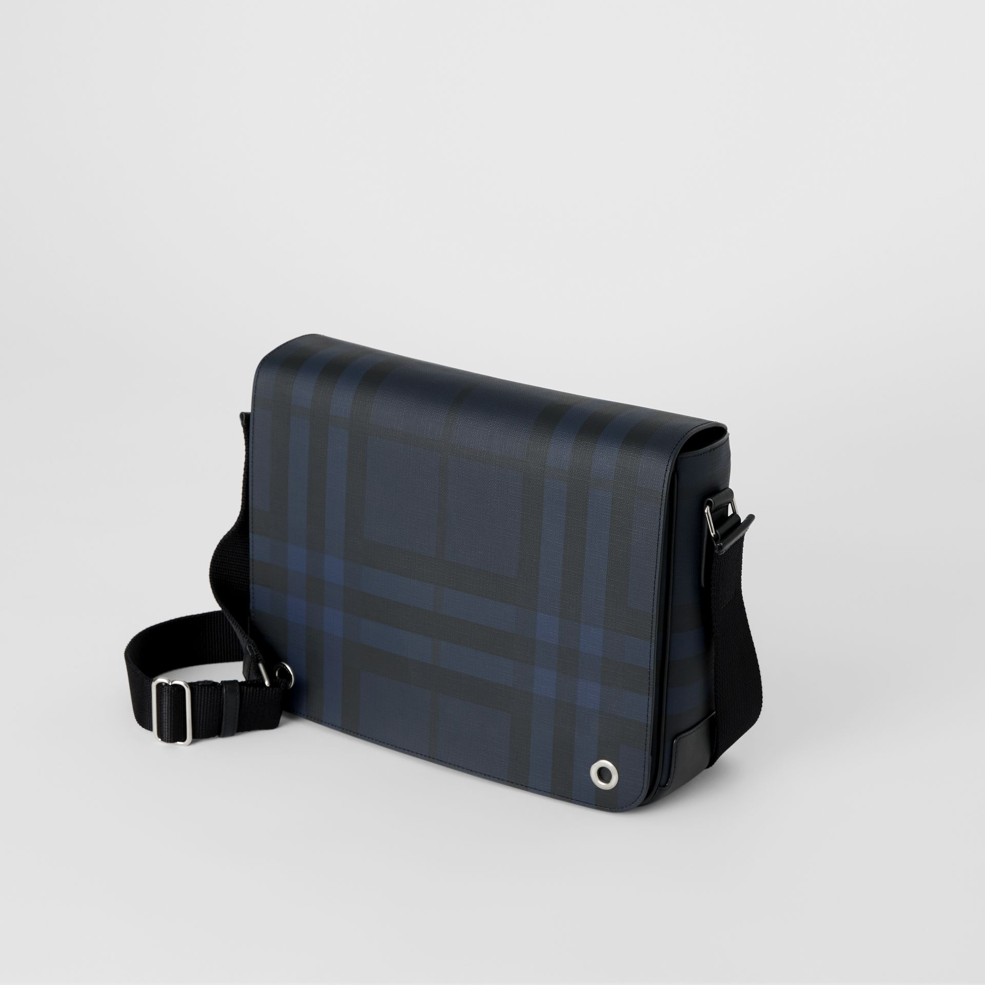 Small London Check Satchel in Navy/black - Men | Burberry Australia - gallery image 4