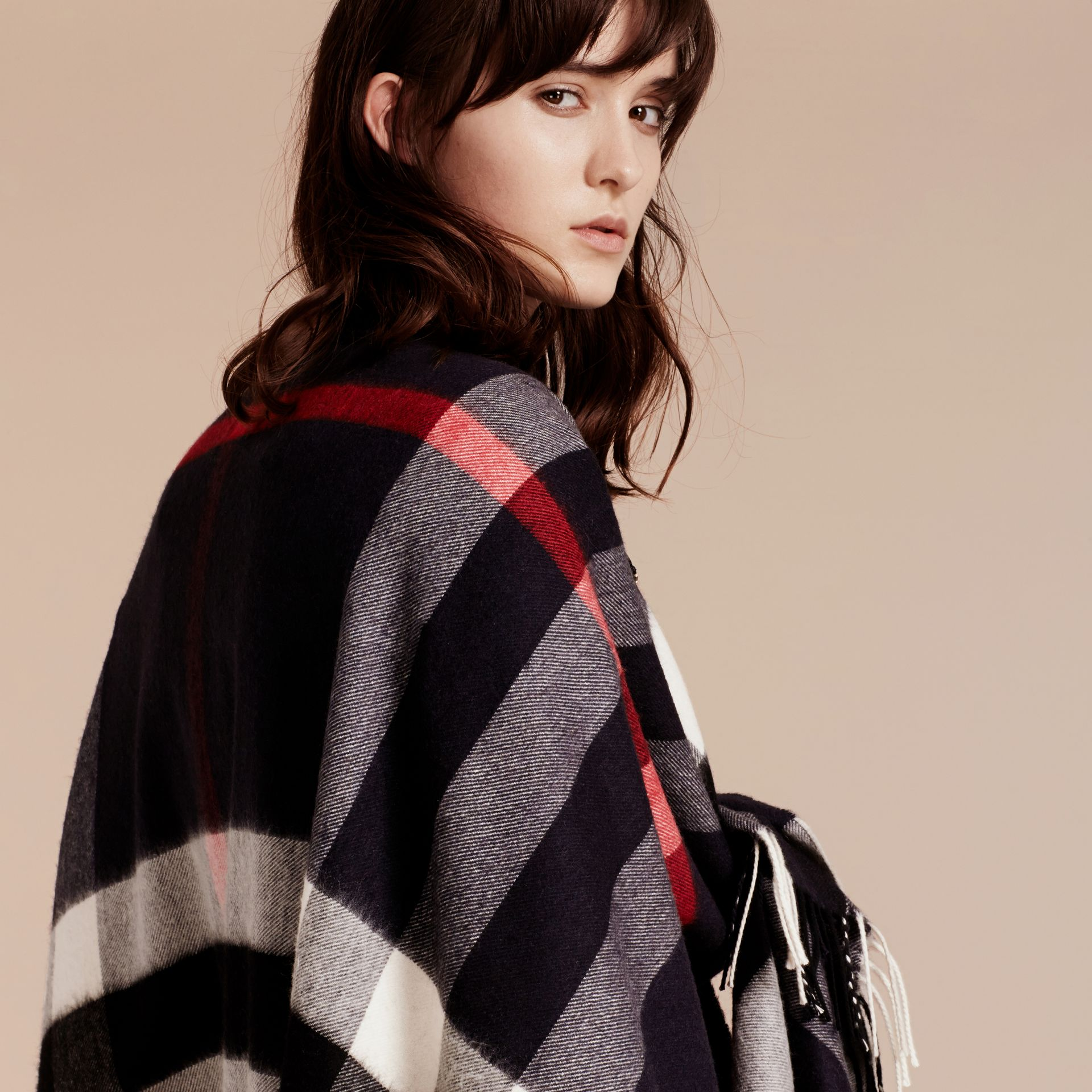 Navy Check Cashmere and Wool Poncho Navy - gallery image 7